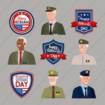 Quatro veteranos e emblemas