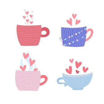 Quatro xícaras com corações e vapor