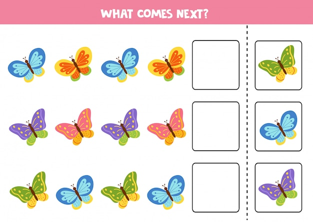Que borboleta vem a seguir. quebra-cabeça educacional para crianças.