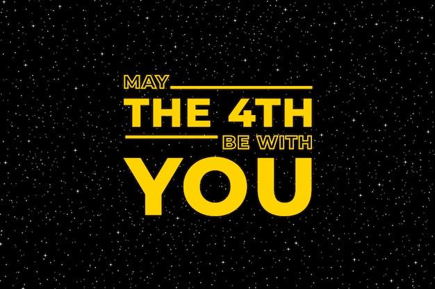 Que o dia 4 esteja com você. cartaz do céu estrelado, força estelar e ilustração de estrelas de mão desenhada