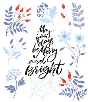 Que seus dias sejam alegres e brilhantes. cartão de natal