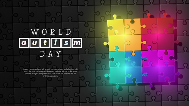 Quebra-cabeça colorido do dia mundial do autismo em fundo preto