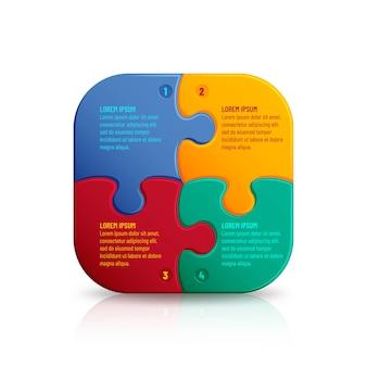 Quebra-cabeça com muitas peças coloridas. modelo de mosaico infográfico