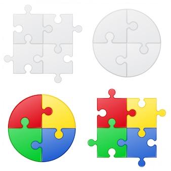 Quebra-cabeça conjunto ilustração vetorial