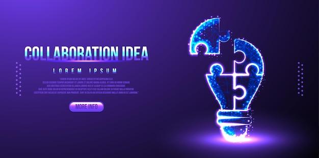 Quebra-cabeça da ideia de colaboração e lâmpada. wireframe de baixo poli