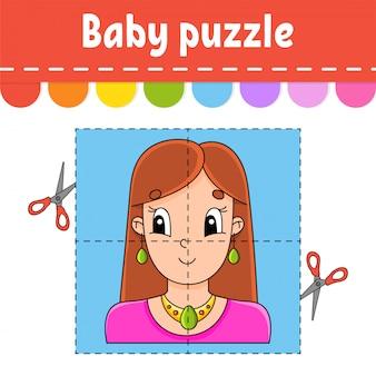 Quebra-cabeça de bebê. nível fácil. cartões flash. cortar e brincar. mulher adorável agradável.