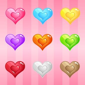 Quebra-cabeça de blocos de doces de corações
