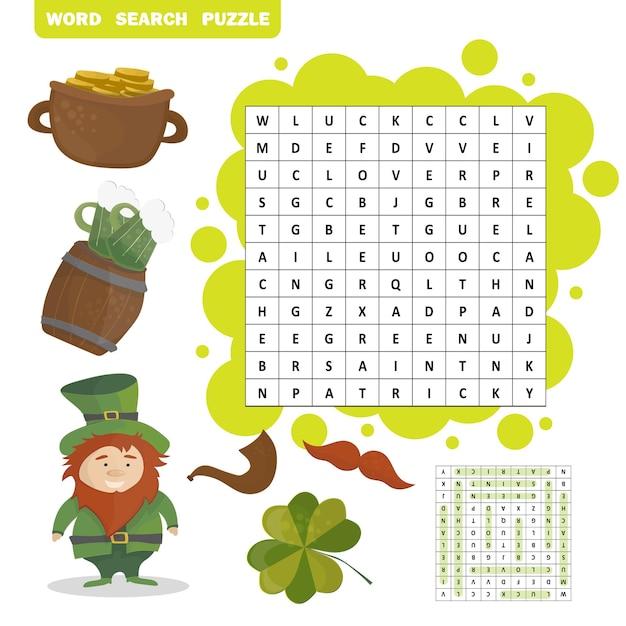 Quebra-cabeça de busca de palavras com tema de feriado do dia de patricks - resposta incluída - vetor