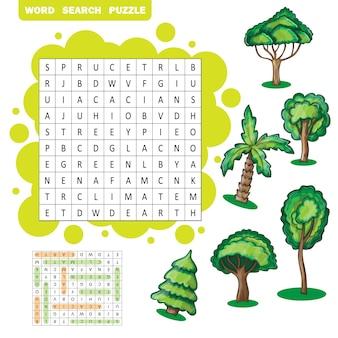 Quebra-cabeça de busca de palavras em zigue-zague com tema de árvores - resposta incluída