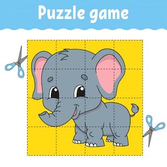 Quebra-cabeça de corte com elefante dos desenhos animados