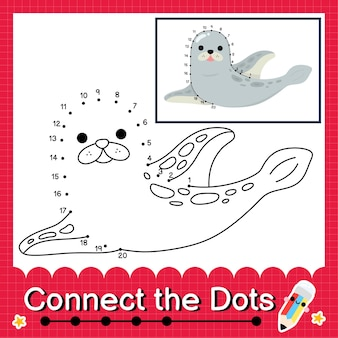 Quebra-cabeça de crianças do selo conecte a planilha de pontos para crianças contando os números 1 a 20