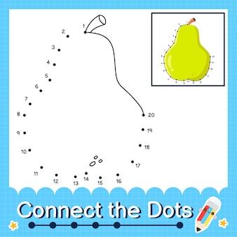 Quebra-cabeça de crianças pêra - planilha de pontos para crianças contando os números 1 a 20