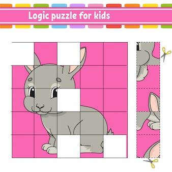 Quebra-cabeça de lógica para crianças. animal de coelho coelho. planilha de desenvolvimento de educação.