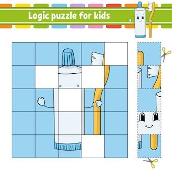 Quebra-cabeça de lógica para crianças. planilha de desenvolvimento de educação.