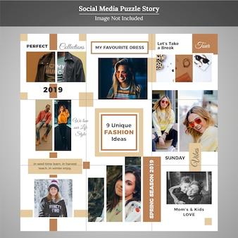 Quebra-cabeça de moda social media post modelo para marketing