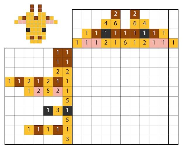 Quebra-cabeça de pintar por número (nonograma), jogo educacional para crianças, girafa