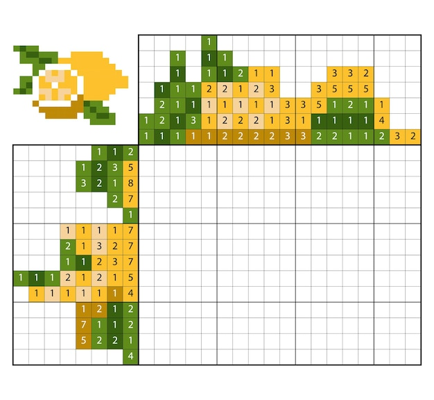 Quebra-cabeça de pintar por número (nonograma), jogo educacional para crianças, limão
