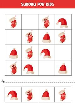 Quebra-cabeça de sudoku com meias e chapéus de natal planilha lógica educacional