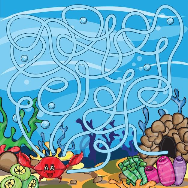 Quebra-cabeça de vetor para crianças - a vida marinha