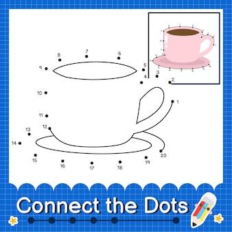 Quebra-cabeça infantil caneca conecte a planilha de pontos para crianças contando os números 1 a 20