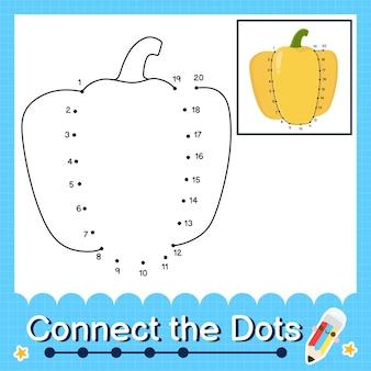 Quebra-cabeça infantil de pimentão amarelo conecte a planilha de pontos para crianças contando os números de 1 a 20