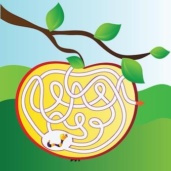 Quebra-cabeça infantil - labirinto simples - ilustração vetorial brilhante