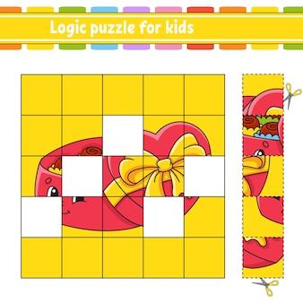 Quebra-cabeça lógico para crianças. planilha de desenvolvimento de educação.