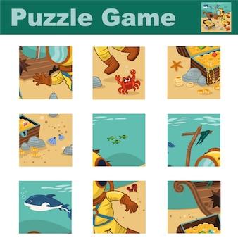 Quebra-cabeça para crianças com um mergulhador e um baú de pirata combine as peças e complete a imagem