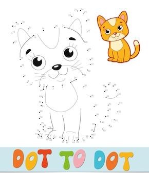 Quebra-cabeça ponto a ponto. conecte o jogo dos pontos. ilustração vetorial de gato
