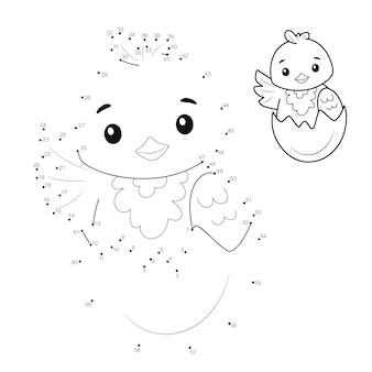 Quebra-cabeça ponto a ponto para crianças. conecte o jogo dos pontos. ilustração de garota
