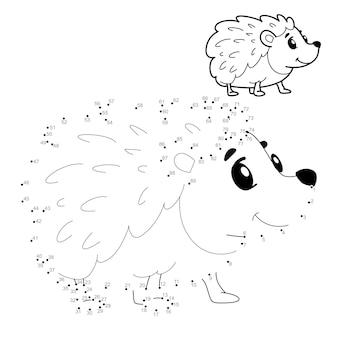 Quebra-cabeça ponto a ponto para crianças. conecte o jogo dos pontos. ilustração de ouriço