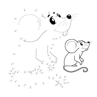 Quebra-cabeça ponto a ponto para crianças. conecte o jogo dos pontos. ilustração do mouse