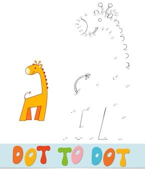 Quebra-cabeça ponto a ponto para crianças. conecte o jogo dos pontos. ilustração do vetor de girafa