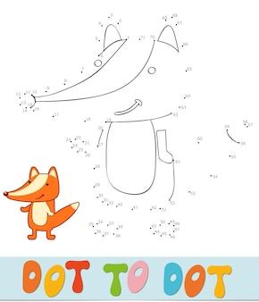 Quebra-cabeça ponto a ponto para crianças. conecte o jogo dos pontos. ilustração vetorial fox