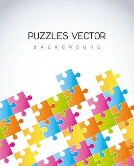 Quebra-cabeças coloridos sobre ilustração vetorial de fundo cinza