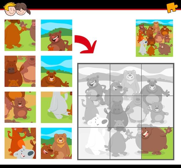 Quebra-cabeças com desenhos animados felizes ursos