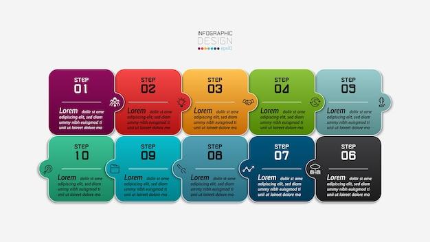 Quebra-cabeças de design quadrado podem se conectar às informações desejadas apresentadas em um infográfico de formato descritivo