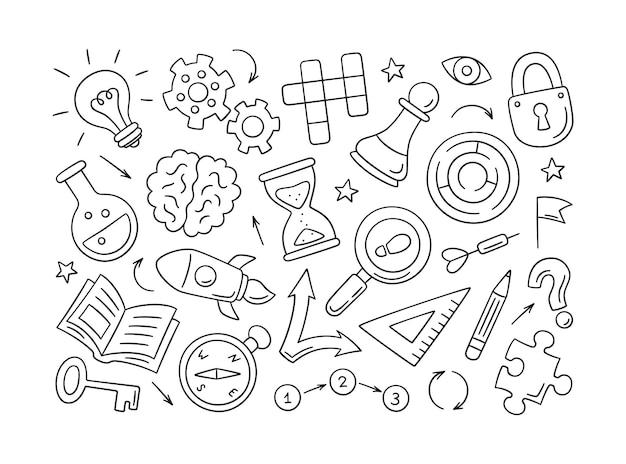 Quebra-cabeças e enigmas. conjunto de objetos desenhados à mão isolados. palavras cruzadas, labirinto, cérebro, peça de xadrez, lâmpada, labirinto, engrenagem, fechadura e chave. ilustração vetorial no estilo doodle em fundo branco
