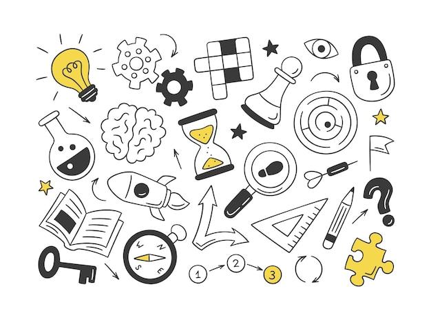 Quebra-cabeças e enigmas. conjunto de objetos desenhados à mão isolados. palavras cruzadas, labirinto, cérebro, peça de xadrez, lâmpada, labirinto, engrenagem, fechadura e chave.
