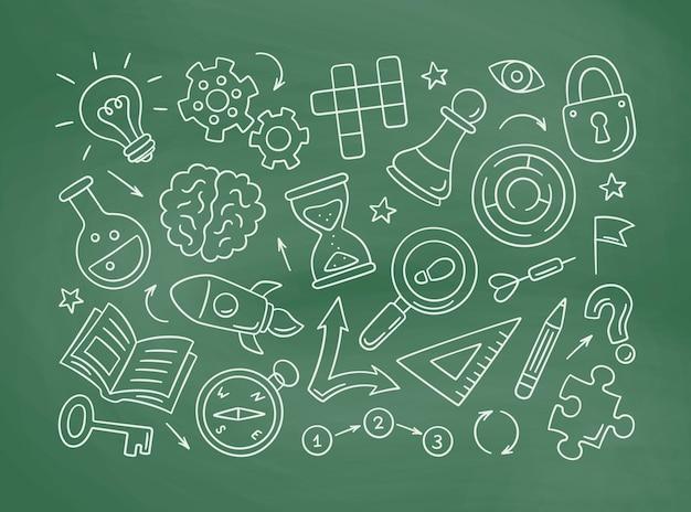 Quebra-cabeças e enigmas desenhados à mão ícones no quadro-negro