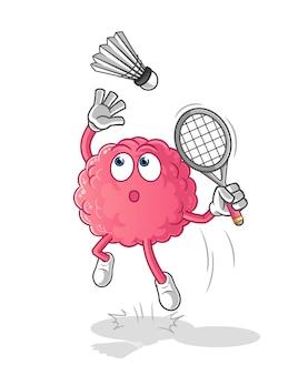 Quebra de cérebro no desenho animado do badminton. mascote dos desenhos animados