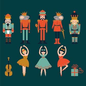 Quebra-nozes, bailarinas, caixas, violino, conjunto de rei do mouse
