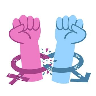 Quebrar o conceito de normas de gênero com ilustração de mãos