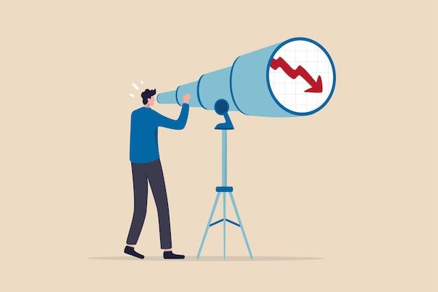 Queda da previsão do mercado de ações, visão para ver a crise econômica futura ou quebra do mercado.