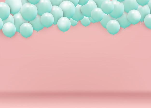 Queda de balões azuis brilhantes isolados no fundo rosa. design para o ano novo, aniversário, dia dos namorados. ilustração.