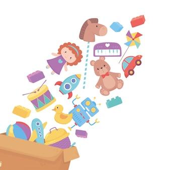 Queda de brinquedos em objeto de caixa de papelão para crianças pequenas brincarem de desenho animado