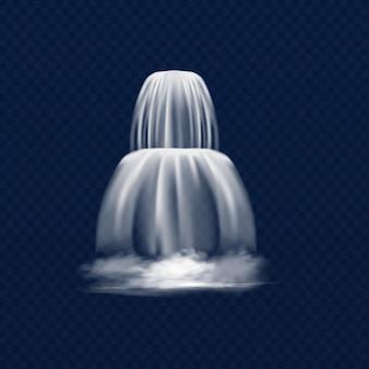 Queda de cachoeira transparente ou rio. ilustração realista em vetor.