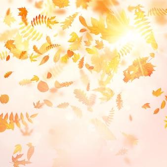Queda de folhagem outonal e folha de álamo voando no vento motion blur.