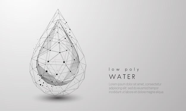 Queda de gota d'água. design de estilo low poly. fundo geométrico abstrato. estrutura de conexão de luz wireframe. conceito moderno de preto e branco. ilustração isolada.