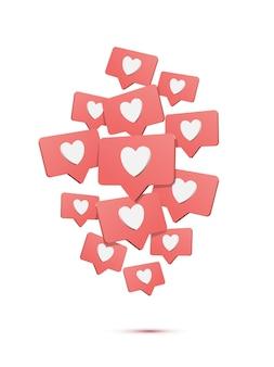Queda de mídia social gosta, ilustração de desenho animado, balões de fala com elementos de design isométrico de corações.